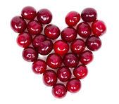 A lot of ripe cherries heart shaped — Foto de Stock