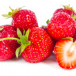 Juicy strawberry lies on the surface — Stock Photo