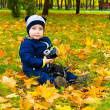 Funny child with a camera — Stock Photo