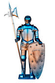 A vintage Iron Knight with spear and shield — Stock Photo