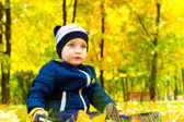 Attractive baby in autumn Park — 图库照片