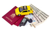 Documents and belongings to travel by car — 图库照片