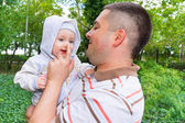 Caring father with his baby — Stock Photo
