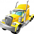 Stock Vector: Cartoon semi truck