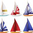 Stock Vector: Set of Small Sailing Boats