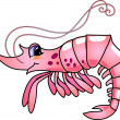 Stock Vector: Cartoon Shrimp