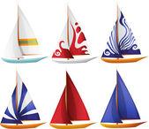 Set of Small Sailing Boats — Stock Vector