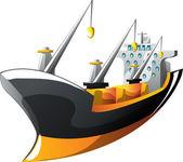 Cartoon cargo ship — Stock Vector