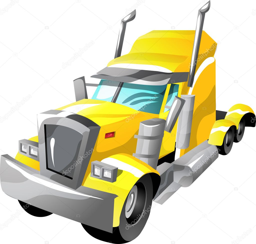 Semi Truck Cartoon Image Semi Truck in Cartoon Style as