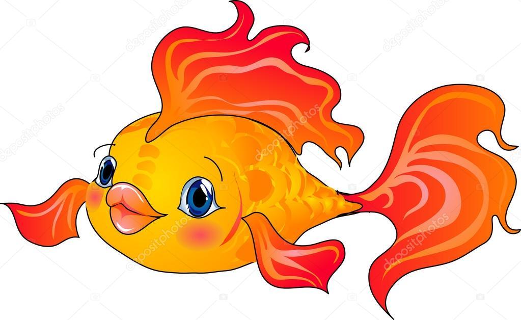 Pesce cartone animato oro — vettoriali stock ledav