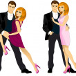 Couples posing & dancing — Stock Vector