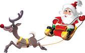Santa-Claus in Sleigh with Rudolph — Stock Vector