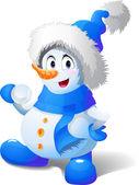 Cartoon snowman play snowballs — Stock Vector