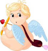 Cartoon cupid aiming — Stock Vector