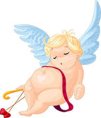 Sleeping cartoon cupid — Stock Vector