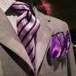 Light grey checkered jacket with purple striped tie and purple h — Stock Photo