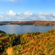 Autumn Landscape Panorama with a Forest and a Lake — Foto Stock