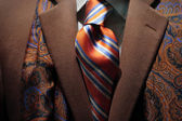 Brown cashmere coat, patterned silk scarf and tie — Stock Photo
