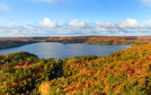 Autumn Landscape Panorama with a Forest and a Lake — Stock Photo