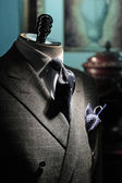 Grey checkered jacket, dark blue tie and handkerchief (vertical) — 图库照片