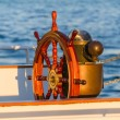 Royalty-Free Stock Photo: Antique Boat Steering Wheel & Compass