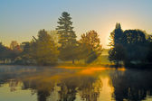 Autumn Sunrise at a Lake — Stock Photo