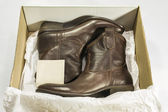 New Boots in Box — Stock Photo