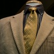 Beige Corduroy Jacket With Black Striped Shirt and Yellow Tie — Stock Photo