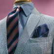 White & Blue Striped Jacket With Striped Tie — Stock Photo