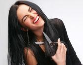 Vrouw met een schaar — Stockfoto