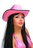Young sexy woman in cowboy hat — Stock Photo