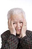 Retrato de mujer sufre de un dolor de cabeza — Foto de Stock