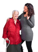 Happy grandmother with granddaughter — Stock Photo