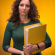 Portrait of business woman with folders — Stock Photo #21960661