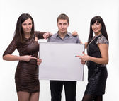 Group of presenting blank banner — Stock Photo