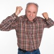 Mature man in boxer pose with raised fists — Stock Photo #25756975