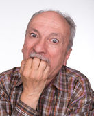 Portrait of a very surprised elderly men — Stock Photo