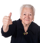 Old woman showing ok sign — Stock Photo