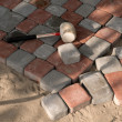 Block pavement under construction — Stock Photo