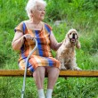 Old woman and her dog sitting on a  bench — Stock Photo