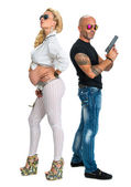 Man with a gun and pregnant woman — Stok fotoğraf