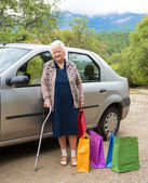 Old woman with shopping bags — Stock Photo
