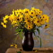 Still life with bunch of bright yellow flowers (rudbeckia) — Stock Photo #32691703