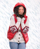 Woman in warm clothing with snow — Stock Photo
