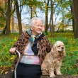 Old woman sitting on a bench with a dog — Stock Photo