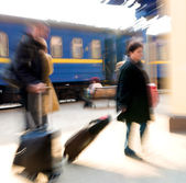 People on railway station — Stock Photo