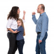 Sad looking girl with her fighting parents — Stock Photo #34900271