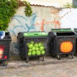 Four colorful trash cans — Stock Photo
