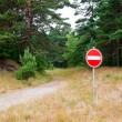 Stop sign in front of a forest path — Stock Photo