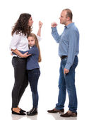 Chica triste con sus padres lucha — Foto de Stock